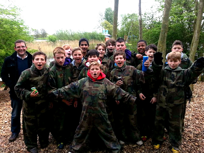 Group of children getting ready for a game of Low Impact Paintball